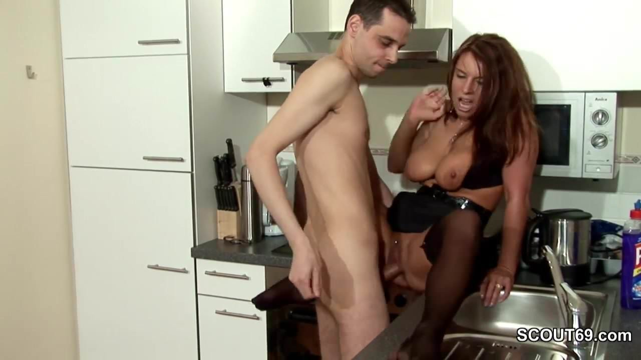 Large breasted shaved anal milf